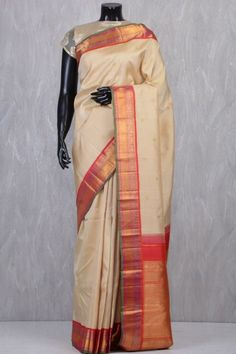 Beige Pure Kanchipuram Silk Saree-VA2479