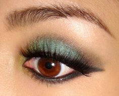 pretty eye make up to go with an attempt at pretty hair: turquoise, brass, charcoal liner. Now I just need to get some mascara for the first time in over a year :)