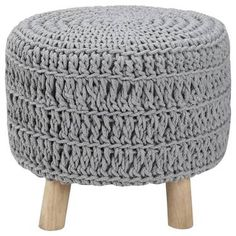 Wood and Cotton Knitted Ottoman Knitted Ottoman, Diy Ottoman, Adirondack Chair Cushions, Upholstered Swivel Chairs, Diy Divan, Coffee Table Alternatives, Bouclair, Black And White Chair, White Chairs