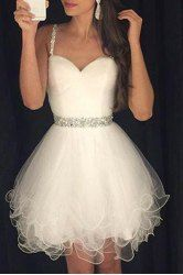 Sweet Spaghetti Strap Rhinestone Embellished Women's Ball Gown Dress (WHITE,XL) | Sammydress.com Mobile