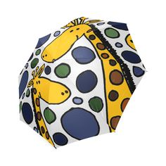 Funny Giraffe Family Abstract Art Foldable Umbrella