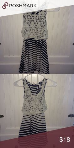 Blue and white striped dress Btween brand dress form kohls. Blue and white stripes with white lace and very comfortable! Girls size 8 Dresses Casual
