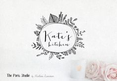 Hand Drawn Style Floral Logo Design for artisan boutique branding, e-commerce website logo, wordpress blog logo, boutique logo, photography branding, wedding logo, website branding design.