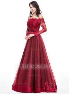 A-Line/Princess Off-the-Shoulder Floor-Length Tulle Charmeuse Evening Dress With Appliques Lace (017056093)