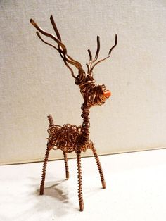 This beautiful handmade Christmas Reindeer is upcycled from copper electric wire which has been hand twisted and wrapped. 100% handmade. | eBay!