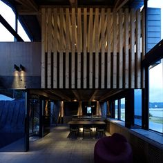 Uncommon Shaped House Architecture with Natural Interior Look: Fancy Purple Sofa Design With Wooden Storage Ideas At Modern Villa With Concr. Purple Sofa Design, Interior Architecture, Interior And Exterior, Wall Panel Design, Interior Styling, Interior Design, Villa, Japanese House, Wood Design