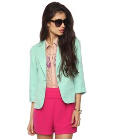3/4 sleeve blazer in seafoam, yellow available too. $29.80
