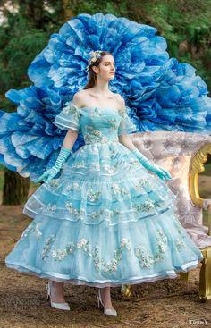 tiglily bridal 2016 off shoulder straightacross ball gown tea length wedding dress (crystal) mv blue color romantic