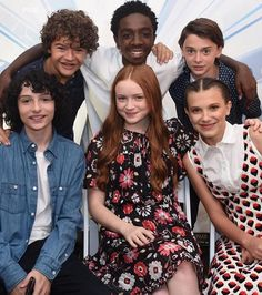 Stranger Things: Gaten Matarazzo, Caleb McLaughlin, Noah Schnapp, Finn Wolfhard, Sadie Sink, and Millie Bobby Brown at San Diego Comic Con 2017 SDCC (photo via Finn's Instagram)