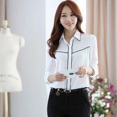 55fdfec1ec New 2015 Fashion Elegant Korea Style Office Women Slim Chiffon Blouse  Turn-Down Collar Long-Sleeved Shirt Free Shipping 38