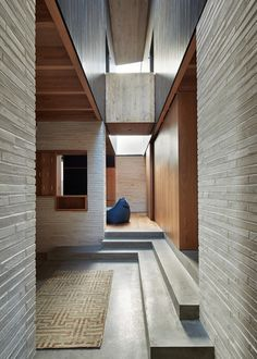 I love the idea of a sunken lounge room acting as the centre of the house. The pale bricks developed for Peter Zumthor's Kolumba project in Cologne became the basis for a robust material palette. Brick Interior, Interior Exterior, Modern Interior Design, Kolumba Museum, Modern Brick House, Storey Homes, Amazing Spaces, Brickwork, Interior Architecture