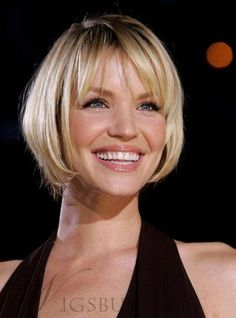 New Best Quality Shining Sexy Bob Hairstyle Short Straight Lace Wig 100% Human Hair 8 Inches Just Wanna You Special