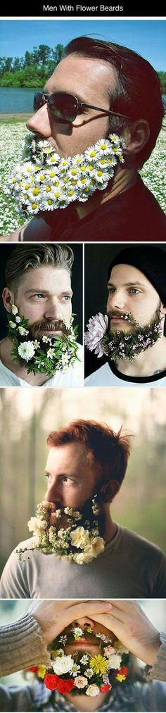 Funny pictures about Men With Fabulous Flower Beards. Oh, and cool pics about Men With Fabulous Flower Beards. Also, Men With Fabulous Flower Beards photos. Moustaches, Flower Beard, Flower Hair, Raining Men, Hipsters, Hair And Beard Styles, Looks Cool, Bearded Men, The Funny