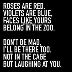 Roses are red, violets are blue. faces like yours belong in the zoo. Don't be mad, I'll be there too not in the cage but laughing at you. too funny. Sassy Quotes, Bitch Quotes, Badass Quotes, Sarcastic Quotes, Mood Quotes, True Quotes, Funny Poems, Funny Jokes To Tell, Stupid Funny Memes