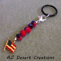 American Flag MOD PV Charm Personal Vaporizer Charm | DesertCreations - Accessories on ArtFire