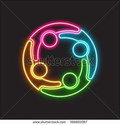 Social media logo neon light. People group design