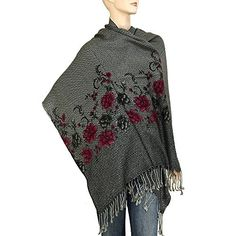 "Falari Women's Flower Printed Pashmina Style Shawl Wrap Scarf 78"" x 26"" Grey. Flower Printed Pashmina Style Shawl Scarf Wrap. 100% Acrylic. Length Approx. 78"" with Fringes (70"" + 4"" Fringe each side) / Width Approx. 26"". The images we provided are very close to the actual product. Colors of the actual product may vary when viewing from different devices, such as computer screens (resolution issues), cellphones, tablets, or many others. HAND WASH ONLY. DO NOT BLEACH. Hand wash could use hair…"
