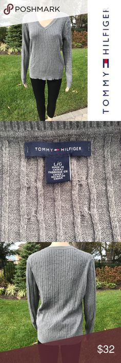 Gray Tommy Hilfiger V- Neck Sweater Gray Tommy Hilfiger V-Neck Sweater  Great condition  No rips tears or stains   Buy 2 items get 3rd half off , offering bundle discounts & accepting all reasonable offers Tommy Hilfiger Sweaters V-Necks