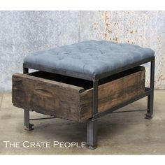 French Blue Tufted Ottoman in Belgian Linen Custom Crate Furniture... ($525) ❤ liked on Polyvore featuring home, furniture, ottomans, grey, home & living, tufted ottoman, drawer furniture, grey furniture, vintage wood furniture and linen tufted ottoman