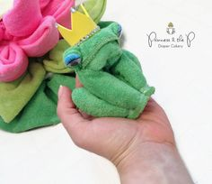 Washcloth Frog, Baby Shower, Frog Baby Shower, Favors, Decor, Princess & the frog, Frog Prince, Pond, frogs snails and puppy dog tails