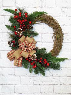 Christmas Wreath Rustic Christmas Wreath Holiday Wreath