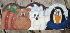 Painted Paver Arctic Trio of Moose Polar Bear Pengiun Brick Crafts, Brick Projects, Stone Crafts, Cement Crafts, Painted Pavers, Painted Gourds, Painted Rocks, Cement Pavers, Brick Pavers