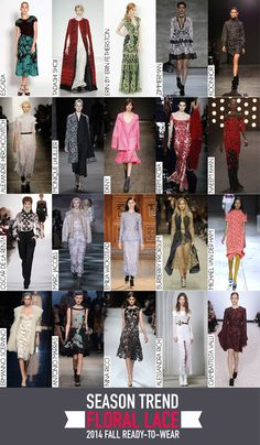 Floral Lace Trend - 2014 Fall RTW Review 2014 Trends, Tadashi, Autumn Inspiration, Miu Miu Ballet Flats, Color Trends, Floral Lace, Ready To Wear, That Look, Colors