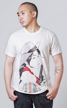 Sharpshooter T-shirt by Esthetek #tshirt #fashion #style #design #apparel #clothing #art #streetstyle #hypebeast #graphictee #cowgirl #western #gun #revolver #bandana #esthetek