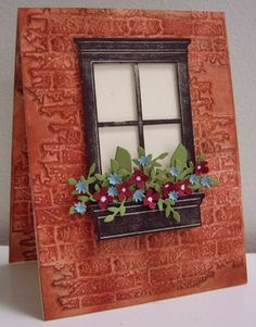 handade card from Stamping with Loll: Brick House ... embossing folder brick texture with exquisite coloring to look like real red bricks .. die cut window the window box full of punched flowers ... luv it!