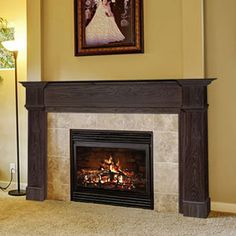 Amberley 48-In x 42-In Wood Fireplace Mantel Surround