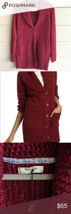 Anthropologie Isabella Sinclair Farfar Sweater. L Anthropologie Isabella Sinclair Farfar Sweater. Size Large. Excellent used condition. Worn once. Burgundy, chunky knit Sweater. Super comfy with pockets! Make an offer! Anthropologie Sweaters Cardigans