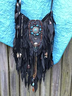 Handmade Rusty Black Leather Fringe Bag W Jewels Up-cycled OOAK Boho Purse B.Joy  | eBay