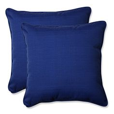 Pillow Perfect Indoor/Outdoor Fresco Corded Throw Pillow, 18.5 Inch, Navy,