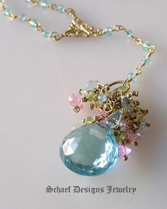 Schaef Designs Large 25 Ct Blue Topaz briolette, peridot, yeloow and blue topaz, & pink CZ Monet rosary style necklace with 24kt gold vermeil & blue topaz linked chain | New Mexico