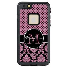 Pink glitter & black damask Pink Black Dots Name LifeProof FRĒ iPhone 6/6s Plus Case - glitter gifts personalize gift ideas unique