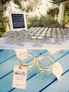 Rustic Wedding Favors Mason Jars | From top to bottom: Oh Lovely Day / The Knotty Bride