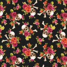 Michael Miller CX7047-CORA-D Charm Skull/Skulls Out – Coral 44?/112 cm wide 100% cotton This very pretty print features skulls with pink and coral flowers on a black background.