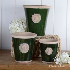 Kew Long Tom Pots in Dark Country Green - Royal Botanic Gardens Plant Pots from www.interiorgifts.co.uk
