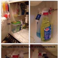I hung a cafe rod under the sink to hang spray cleaners on. Space Saving Idea!!!!!