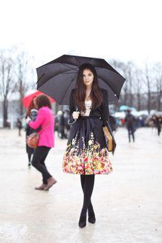Black flowered skirt.
