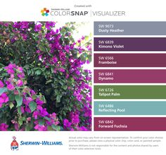 I found these colors with ColorSnap® Visualizer for iPhone by Sherwin-Williams: Dusty Heather (SW 9073), Kimono Violet (SW 6839), Framboise (SW 6566), Dynamo (SW 6841), Talipot Palm (SW 6726), Reflecting Pool (SW 6486), Forward Fuchsia (SW 6842).