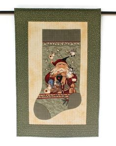 Christmas Stocking Wall Hanging Quilted Door by RedNeedleQuilts