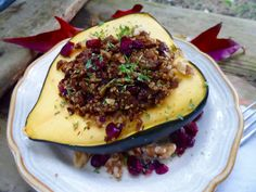 Stuffed Acorn Squash with Herbed Quinoa, Cranberries and Savory Grounds | Sweet Earth Natural Foods