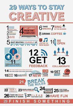 29 Ways to Stay Creative [Infographic] web design, website design, creative, inspiration E-mail Design, Crea Design, Graphic Design, Creative Design, Design Logos, Chart Design, Design Ideas, Interior Design, Cv Inspiration