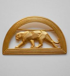 Art Deco Style Gold Panther Brooch Pin by JJ by BeverlysBazaar