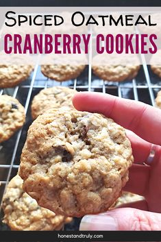 These spiced cranberry oatmeal cookies taste absolutely amazing. This easy recipe makes super soft and chewy cookies using dried cranberries. This is perfect for a cookie swap or to give as gifts. It's a fun and unique cookie recipe that everyone loves, even those who don't necessarily love traditional oatmeal cookies! Delicious Cookie Recipes, Best Cookie Recipes, Real Food Recipes, Dessert Recipes, Vegetarian Recipes, Iced Sugar Cookies, Yummy Cookies, Bar Cookies, Granola Cookies