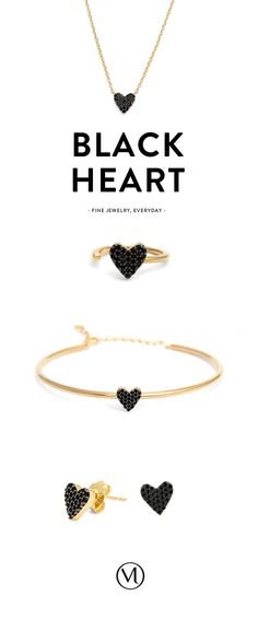 """The heart wants what it wants"" Dainty black heart jewelry by Mejuri. Made in gold dipped sterling silver."