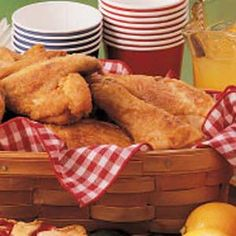 Southern Fried Chicken Recipe - yummy & easy: pancake mix, salt, pepper, paprika. I used chicken tenders and a little olive oil to fry (not deep fryer)