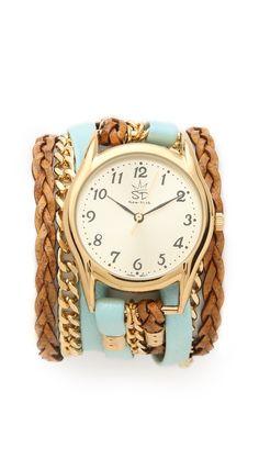 JL - super cute! Sara Designs Flat Leather & Chain Wrap Watch | SHOPBOP