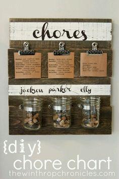 chores: diy chore chart I like being able to change chore cards. Chore Rewards, Chore List, Kids Rewards, Diy Hacks, Chore Jar, Do It Yourself Inspiration, Creative Inspiration, Style Inspiration, Diy Organizer